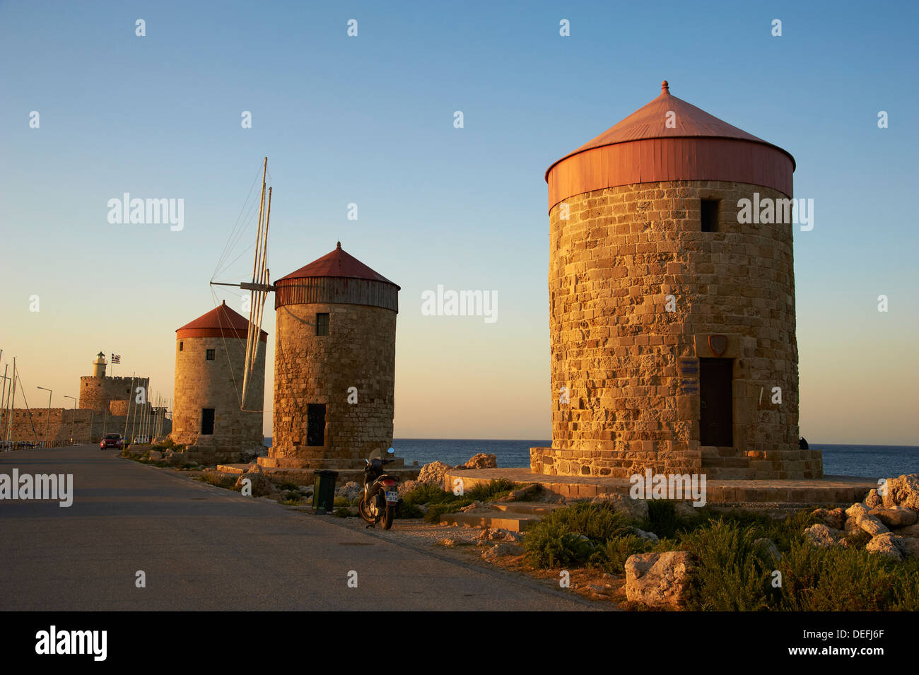 Windmills and Agios Nikolaos, Rhodes City, Rhodes, Dodecanese, Greek Islands, Greece, Europe - Stock Image