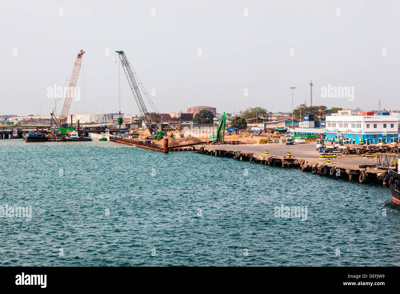 Africa, Liberia, Monrovia. Pilings being constructed at port. - Stock Image