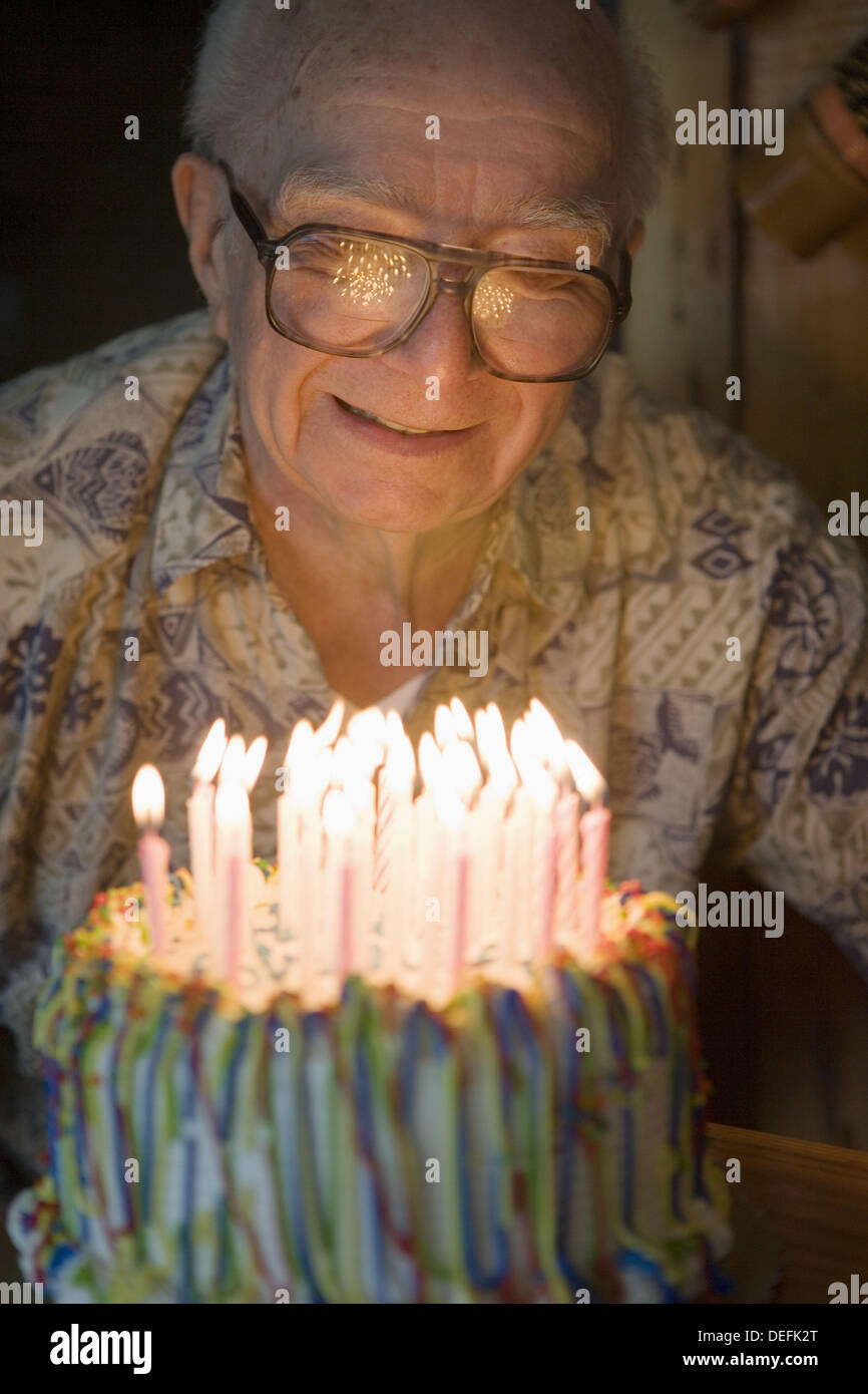 Senior Male Caucasian Age 87 Candles Birthday Cake Celebration