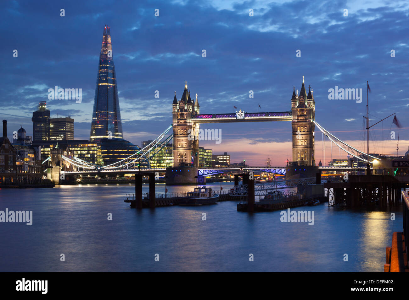 The Shard and Tower Bridge on the River Thames at night, London, England, United Kingdom, Europe - Stock Image