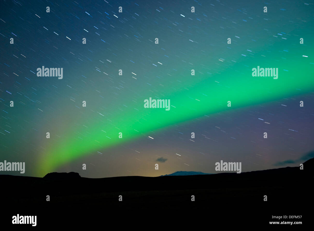 The Northern Lights (Aurora Borealis), Vik, Iceland, Polar Regions - Stock Image