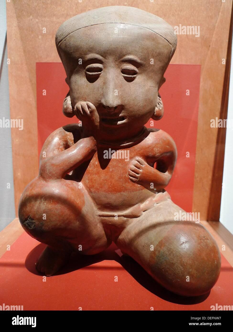 Colima personage ceramic. Museo Nacional de Arte (MUNAL). Mexico city. - Stock Image
