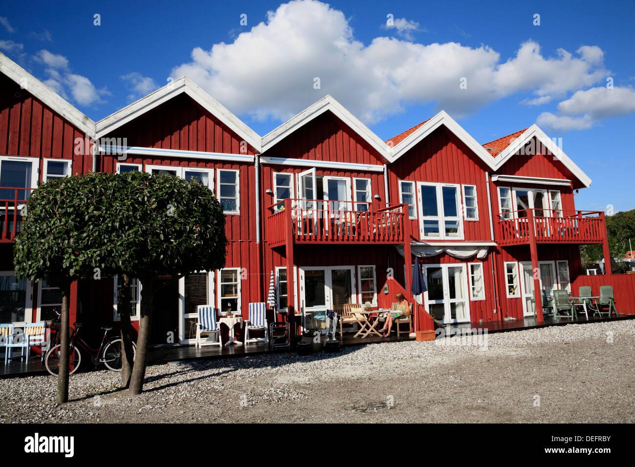 Holliday houses at Ebeltoft harbor, Djursland, Jutland, Denmark, Scandinavia, Europe - Stock Image