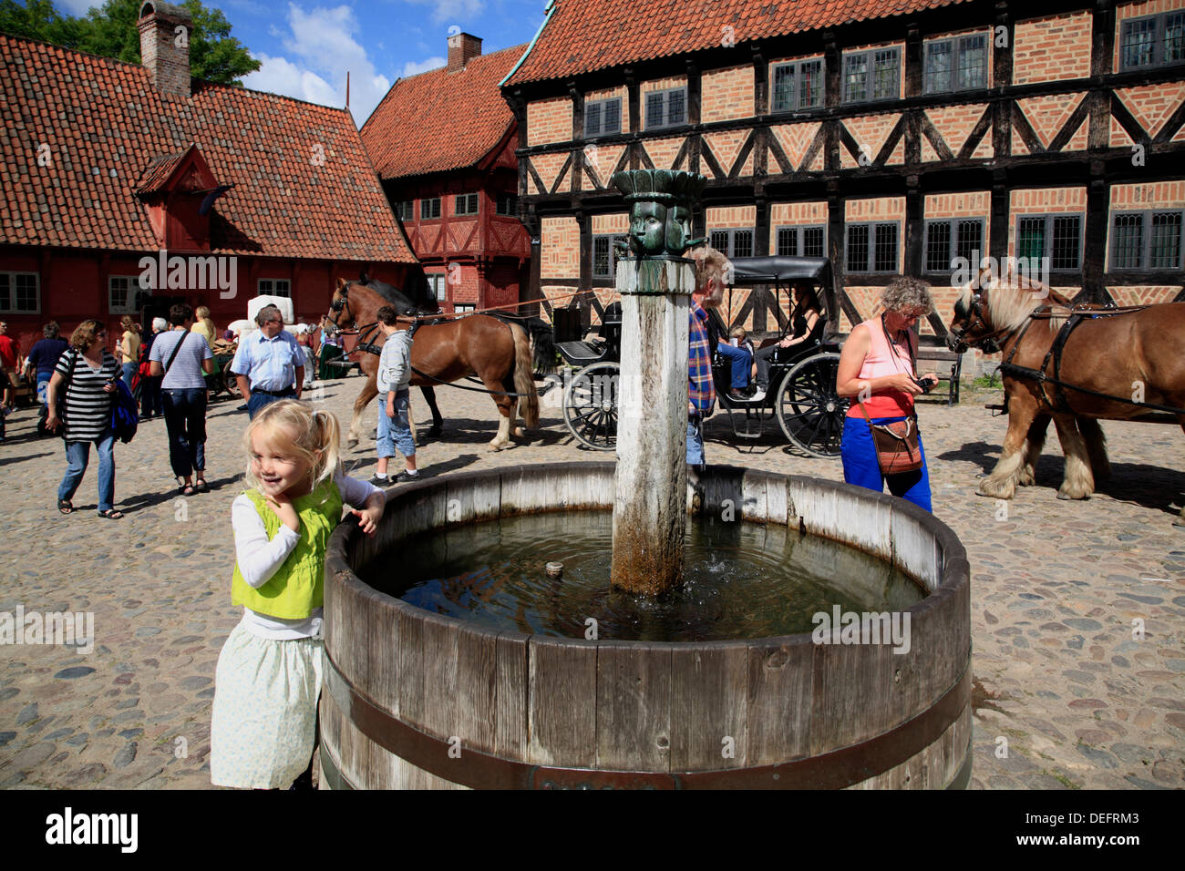 Fountain at The Old Town open air museum DEN GAMLE BY, Arhus, Jutland, Denmark, Scandinavia, Europe - Stock Image