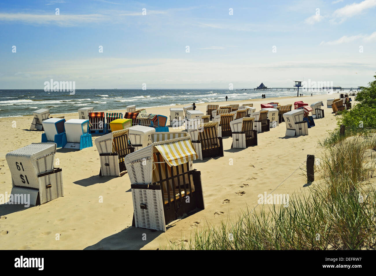 Beach chairs, Usedom, Mecklenburg-Vorpommern, Germany, Baltic Sea, Europe - Stock Image