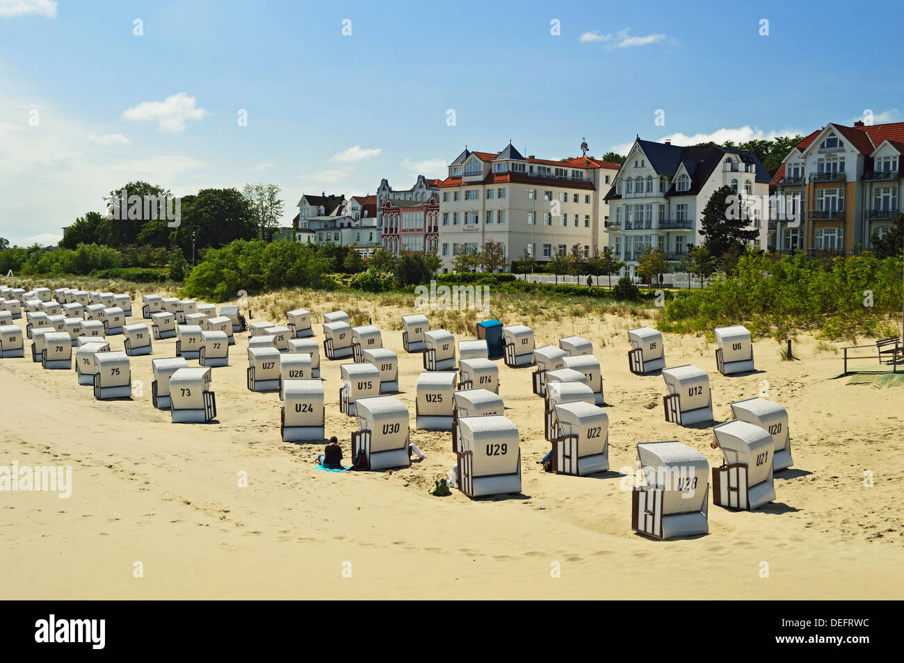 Beach chairs, Bansin, Usedom, Mecklenburg-Vorpommern, Germany, Baltic Sea, Europe - Stock Image