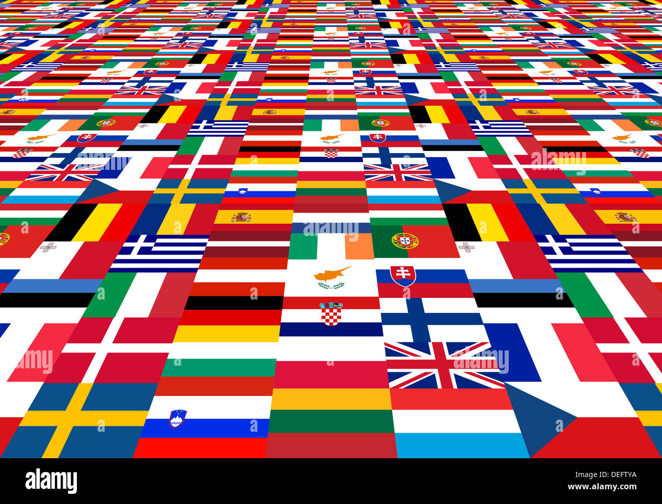 National flags of the EU member states - Stock Image