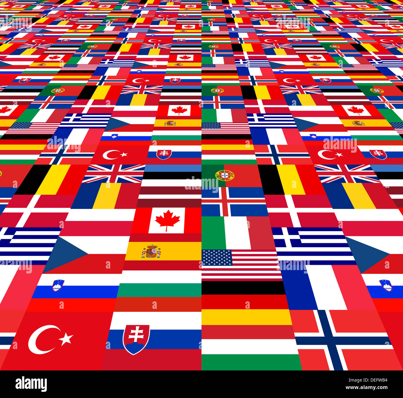 National flags of the NATO countries - Stock Image