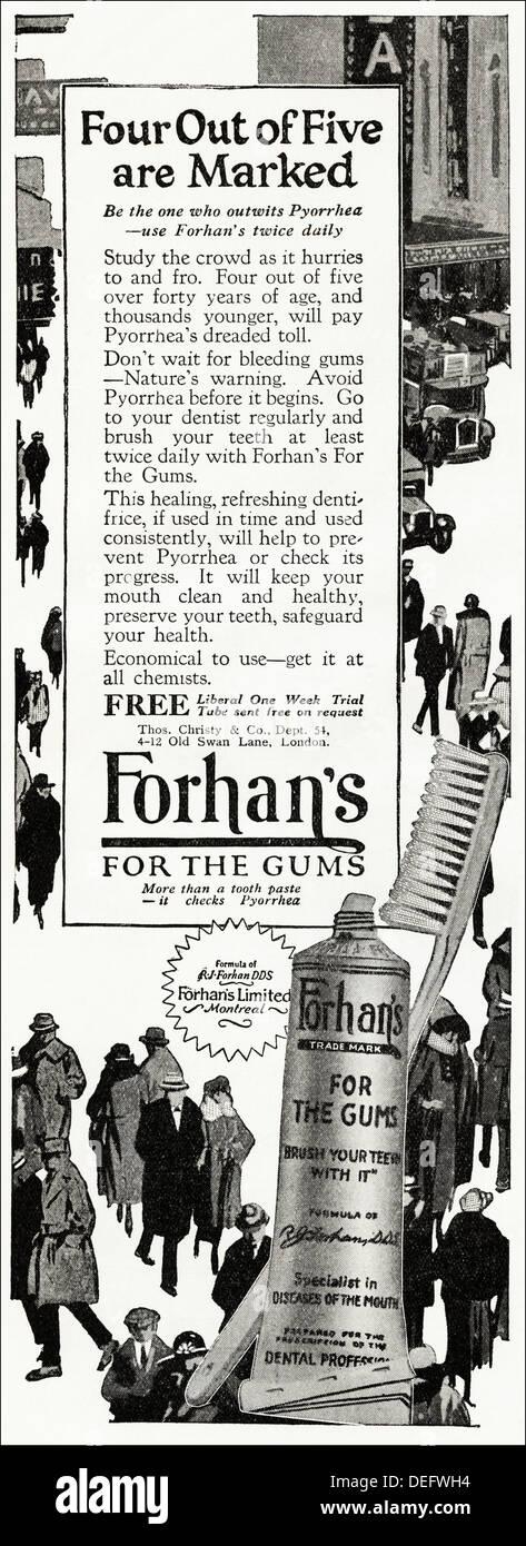 Original 1920s advertisement advertising FORHAN'S TOOTH PASTE, consumer magazine advert circa 1924 Stock Photo