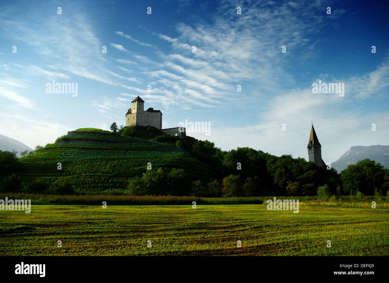 Castle on top of a hill in Liechtenstein Stock Photo