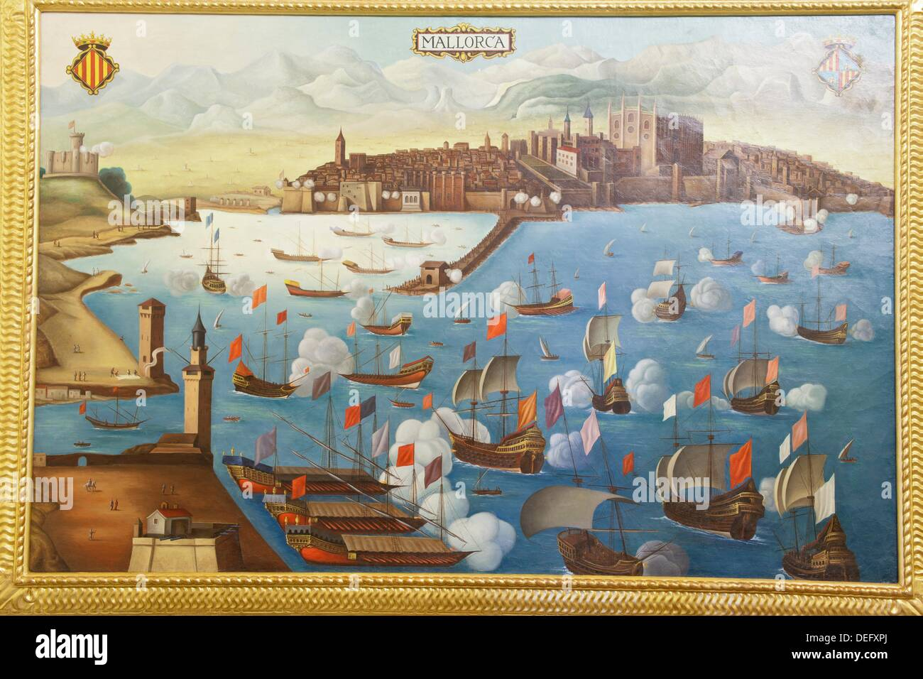 Painting depicting a siege to the city of Palma Consulate of the Sea, headquarters for the presidency of the Balearic Stock Photo