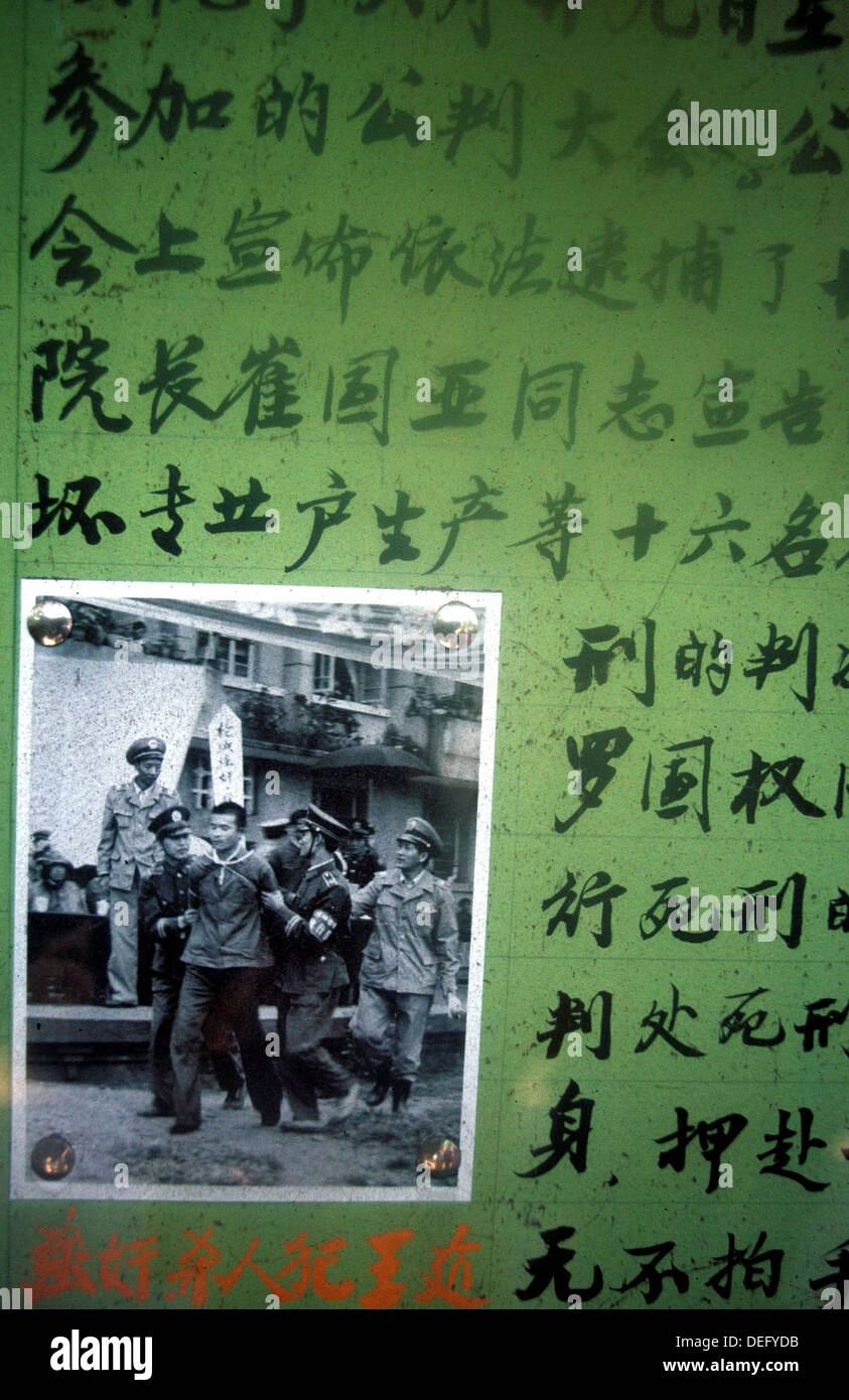 Poster of criminal arrest in China during the Cultural Revolution - Stock Image