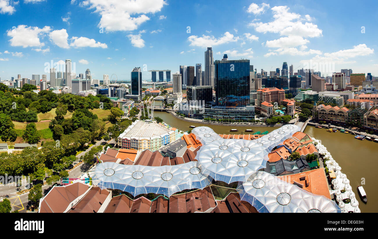 Elevated view over Fort Canning Park and the modern city skyline, Singapore, Southeast Asia, Asia - Stock Image