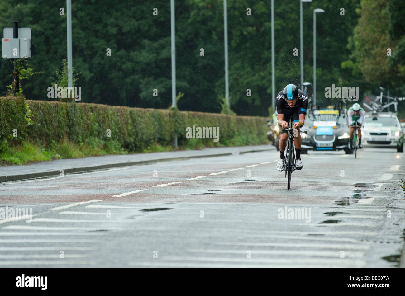Josh Edmondson of Sky Procycling in Stage 3 of the 2013 Tour of Britain, a 16km individual time trial at Knowsley, Merseyside - Stock Image