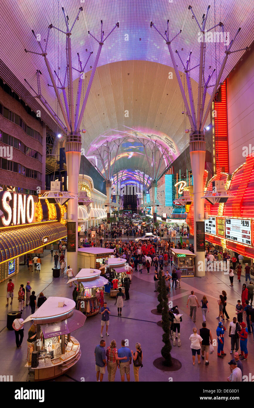 The Fremont Street Experience in Downtown Las Vegas, Nevada, United States of America, North America - Stock Image