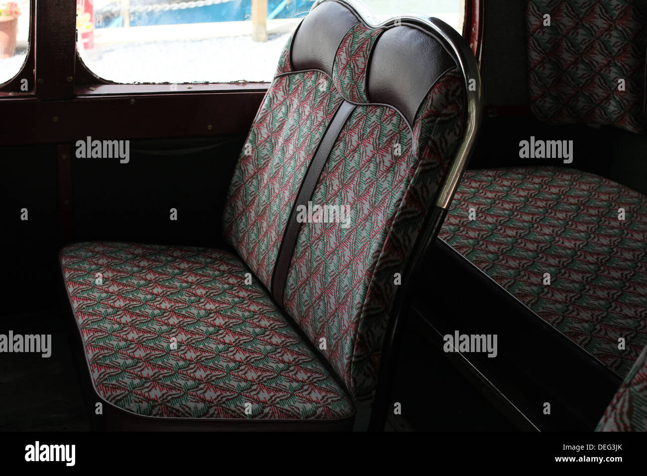 coach seats,upholstery,leather,barnaby,Leyland bus on the way to Greenway house, vintage, Leyland, Tiger, Bus, classic, restored - Stock Image