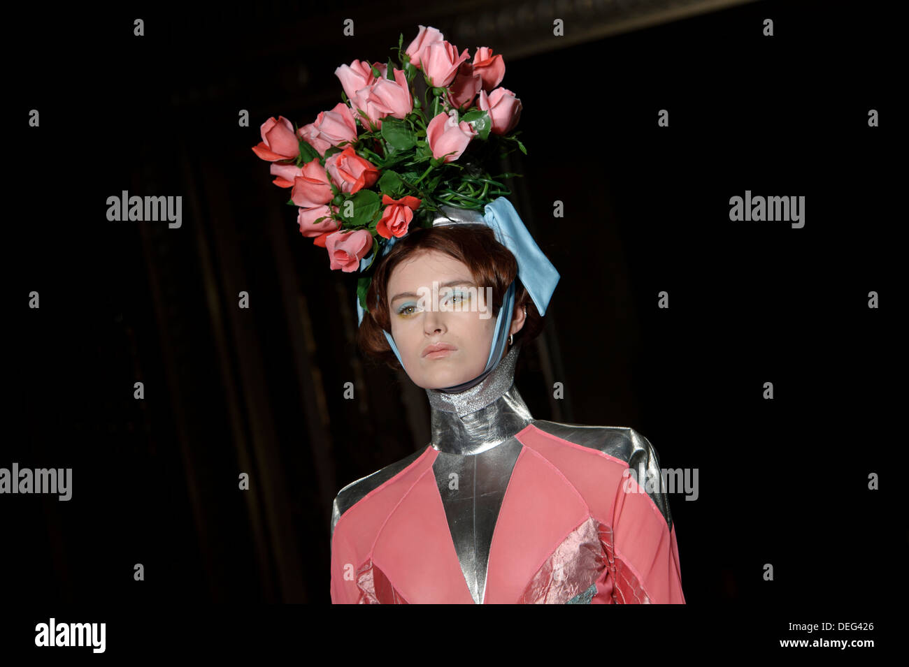 A model wears a design created by Pam Hogg during London Fashion