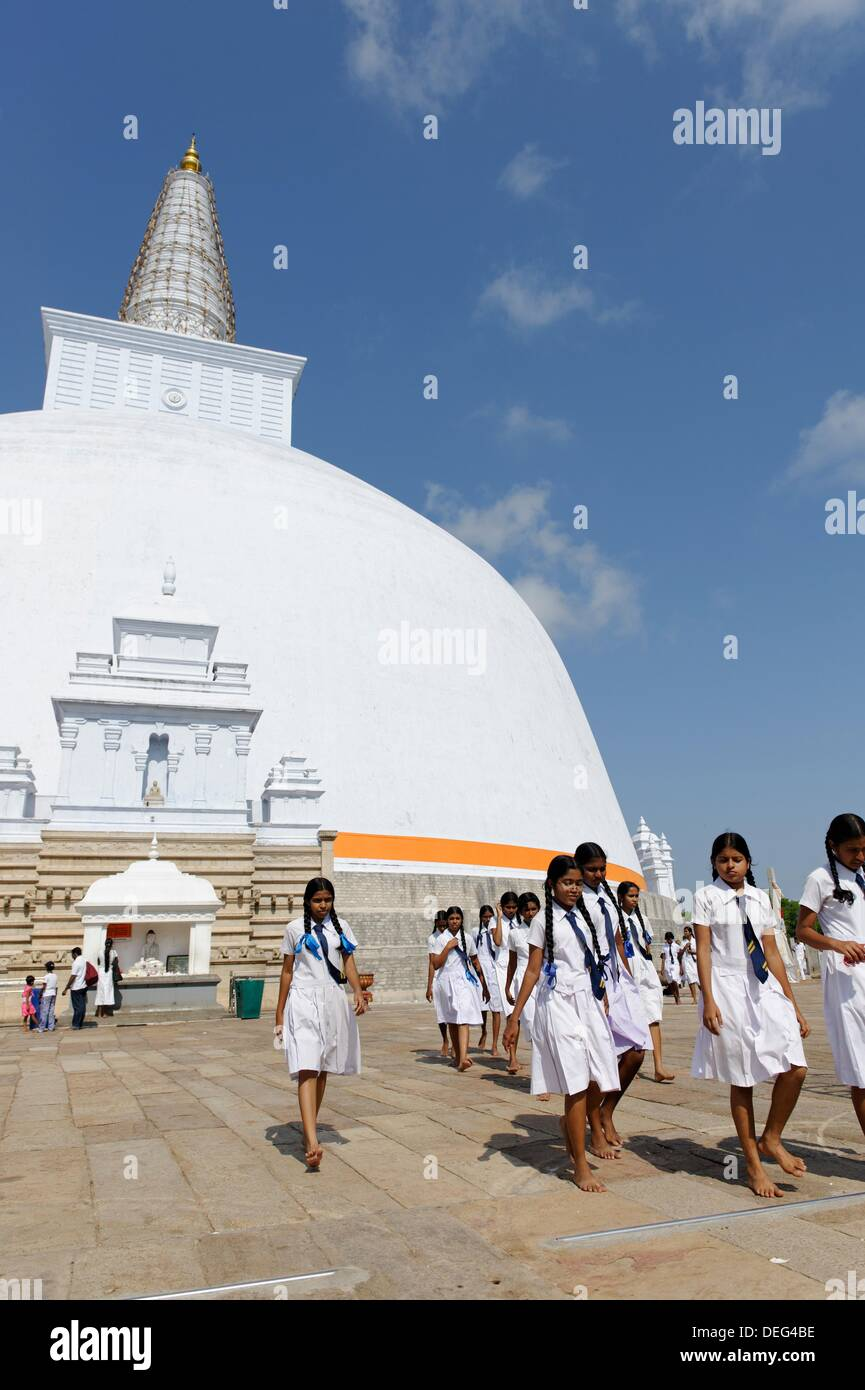 The Ruwanwelisaya is a stupa in Sri Lanka, considered a marvel for its architectural qualities and sacred to many Buddhists all - Stock Image