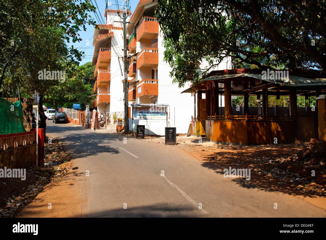 Restaurant at the roadside, China Town Bar and Restaurant, Vagator Beach Road, Vagator, Bardez, North Goa, Goa, Stock Photo