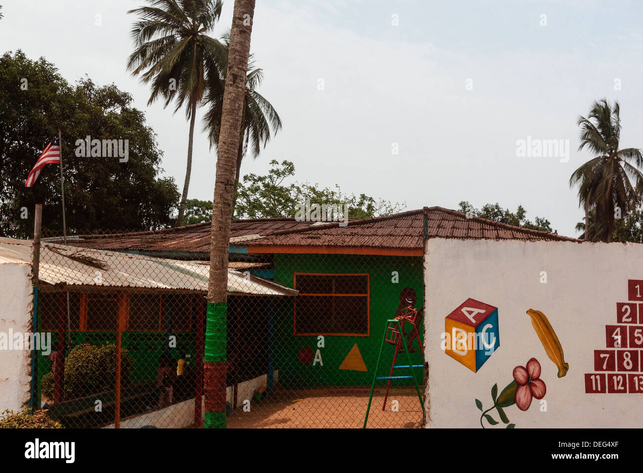 Africa, Liberia, Monrovia. Courtyard of Beginners Childcare Center. - Stock Image