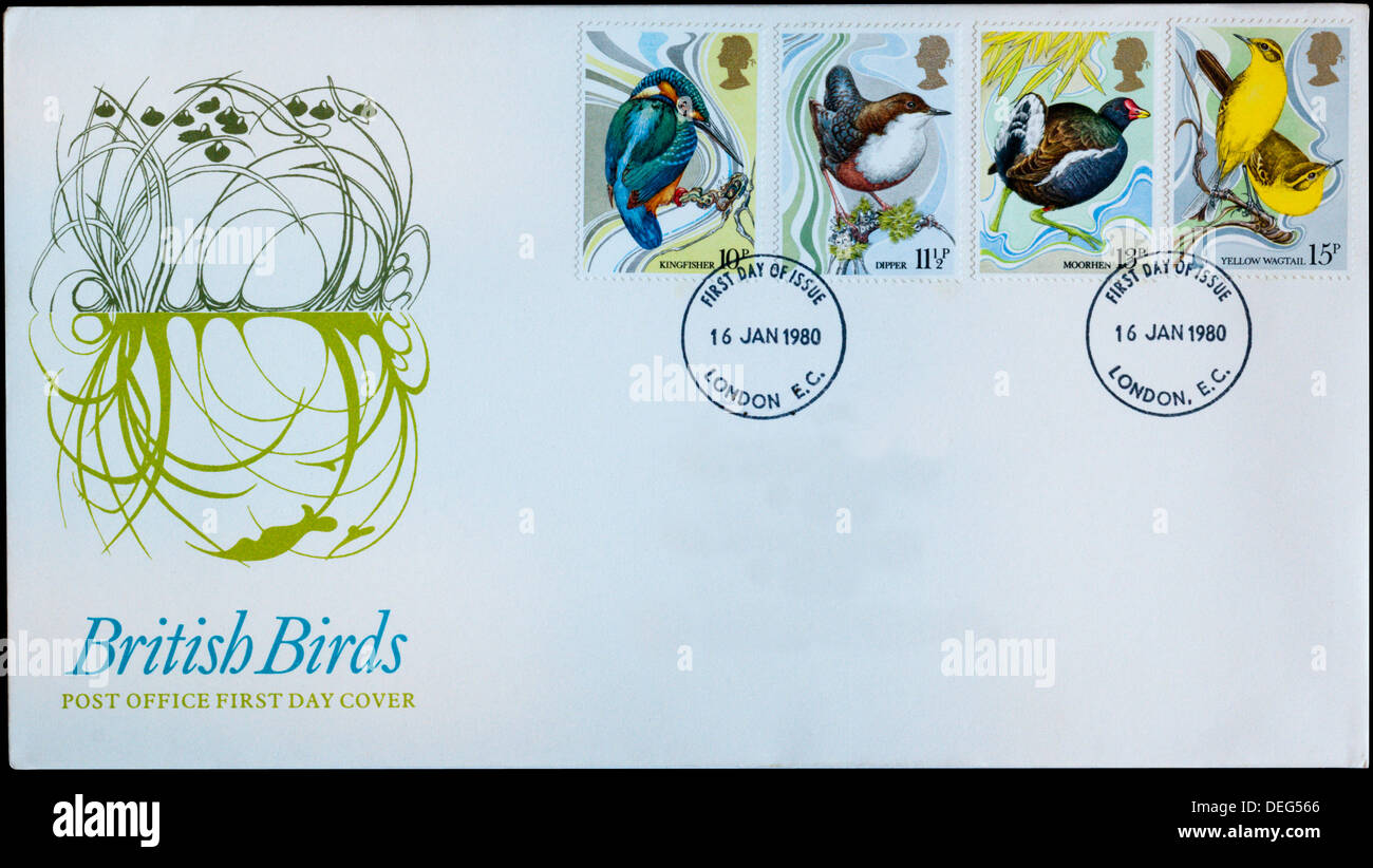 Post Office First Day Cover celebrating British Birds. - Stock Image