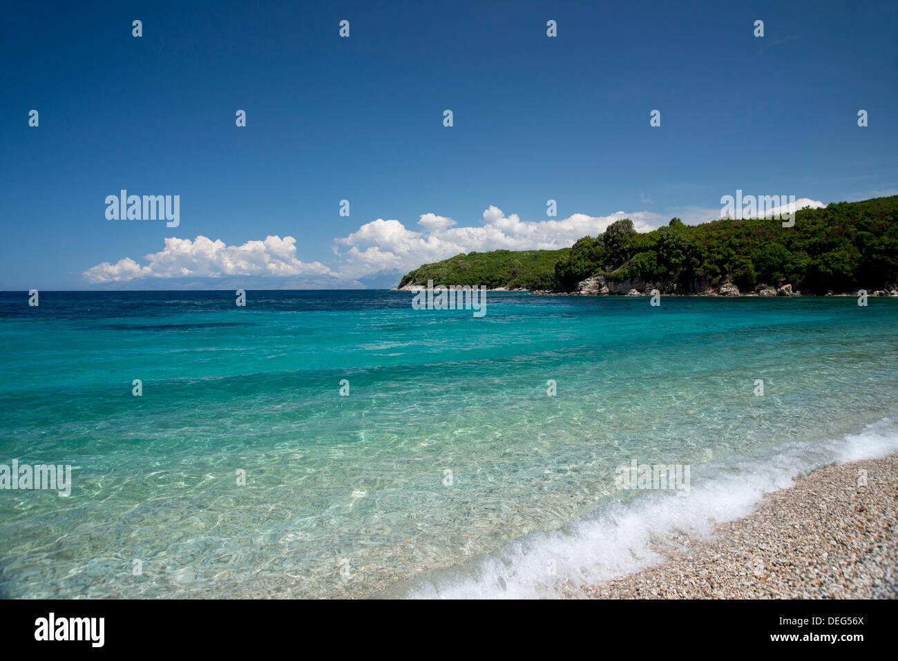 Avlaki Beach on the northeast coast of Corfu near the town of Cassiopi, Corfu, Ionian Islands, Greek Islands, Greece - Stock Image