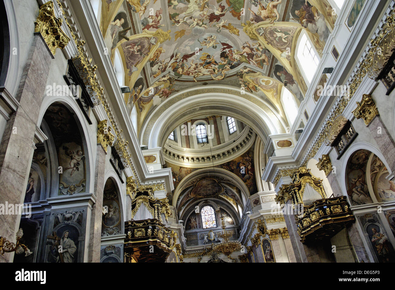 The frescoes by Giulio Quaglio painted from 1703 to 1723. The Cathedral of St Nicholas. Ljubljana city. Slovenia. - Stock Image