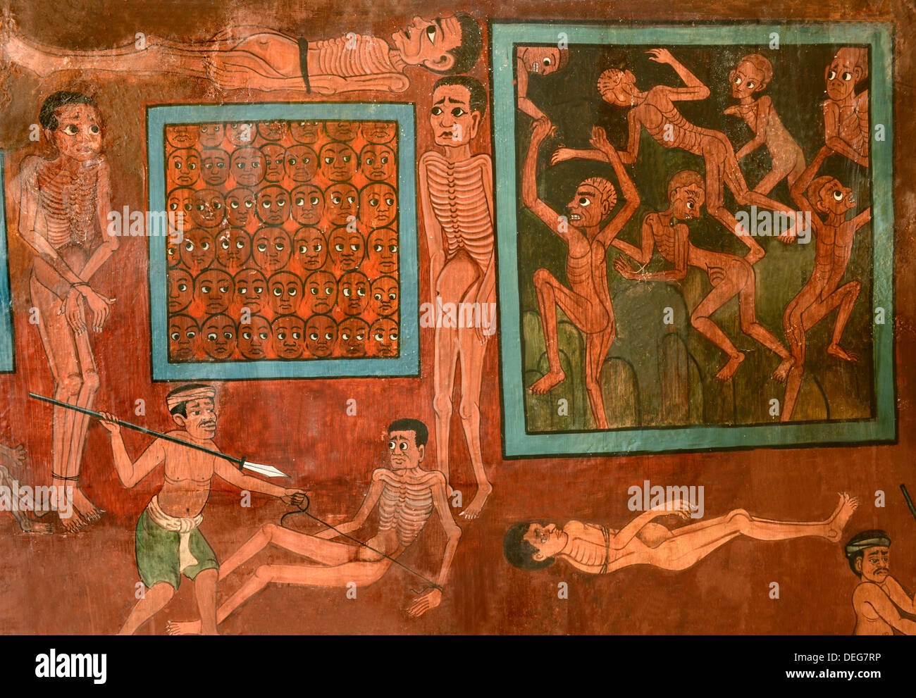 Detail of murals with scenes of hell dating from the late Rattanakosin period, Wat Saket, Bangkok, Thailand, Southeast Asia - Stock Image