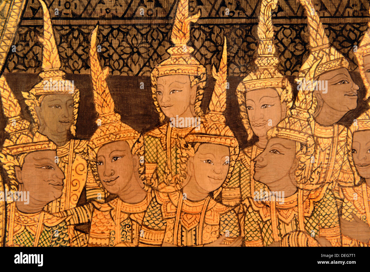 Detail of the murals of Wat Saket in late Rattanakosin style, Bangkok, Thailand, Southeast Asia, Asia - Stock Image