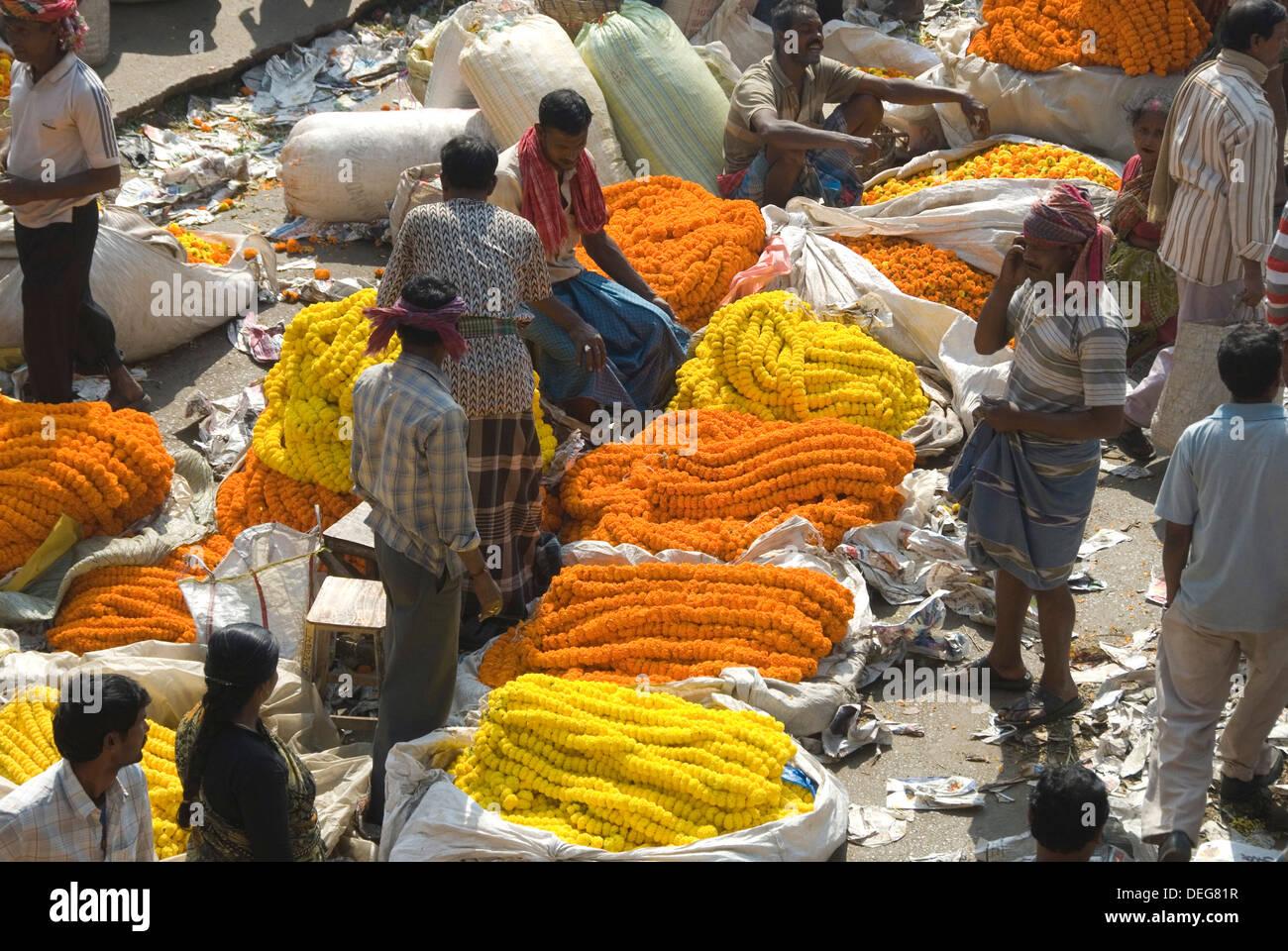 Armenia Ghat flower market, Kolkata (Calcutta), West Bengal, India, Asia - Stock Image