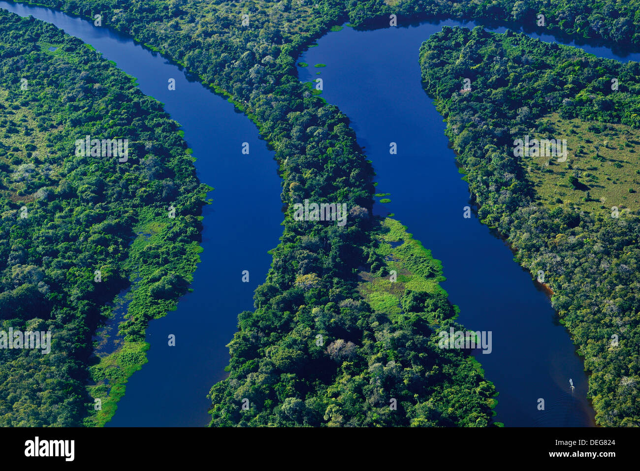 Brazil, Pantanal: Aerial shot of river Claro and rain forest near Poconé - Stock Image