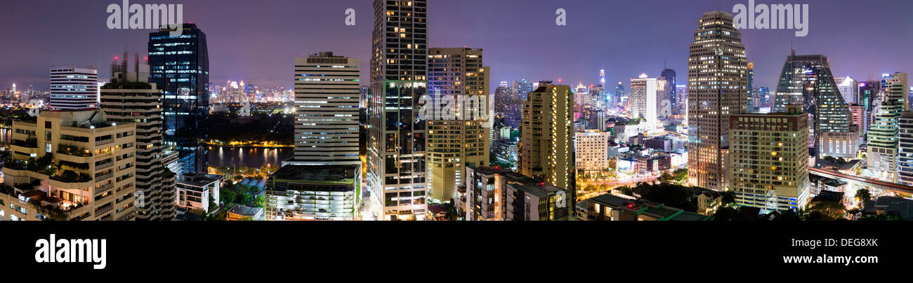 Panoramic view of Bangkok at night from Rembrandt Hotel and Towers, Sukhumvit 18, Bangkok, Thailand, Southeast Asia, Asia - Stock Image
