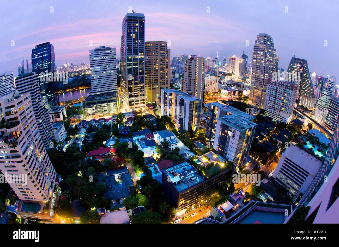 Fisheye view of Bangkok at night from Rembrandt Hotel and Towers, Sukhumvit 18, Bangkok, Thailand, Southeast Asia, Asia - Stock Image