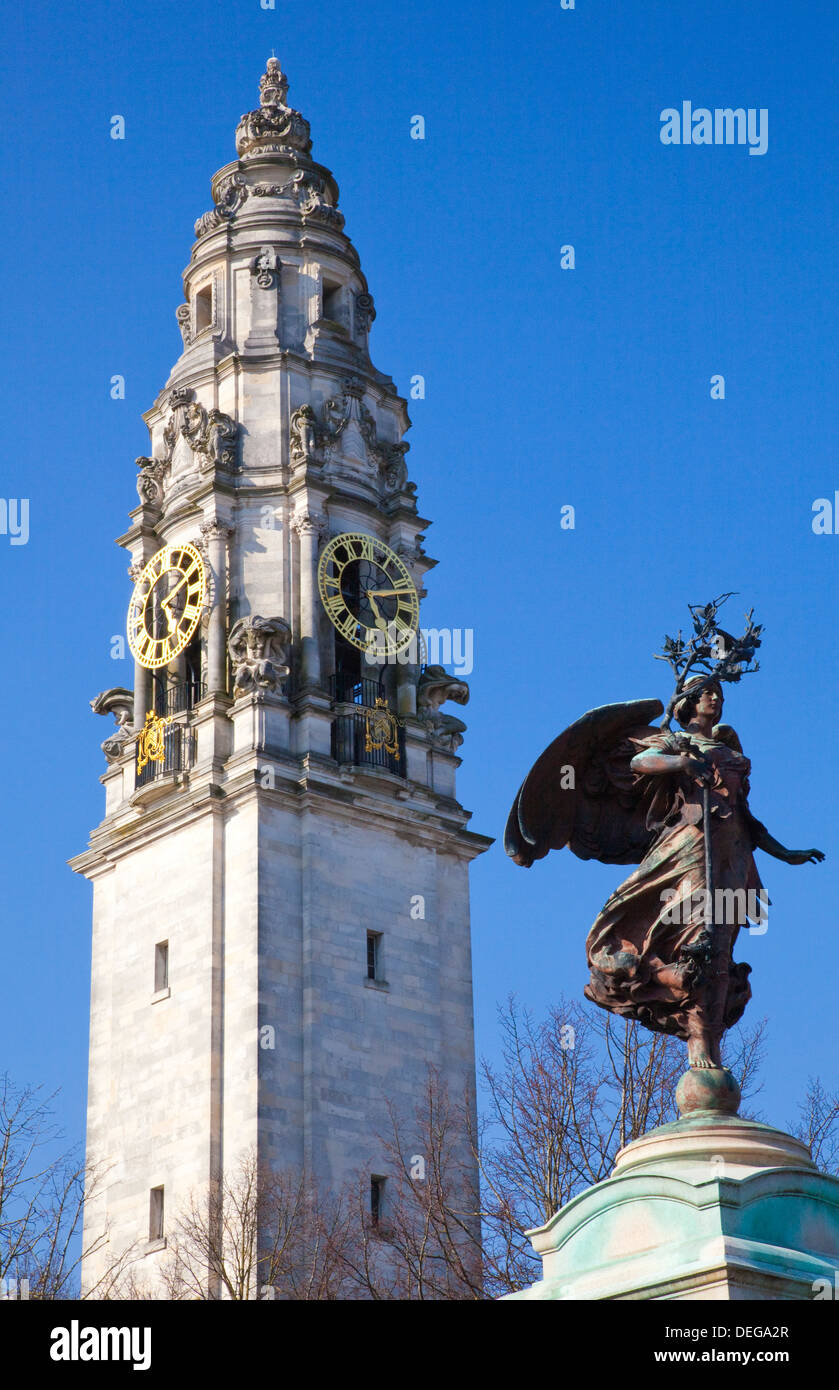 Statue of Boer War Memorial, City Hall, Cardiff, Wales, United Kingdom, Europe - Stock Image