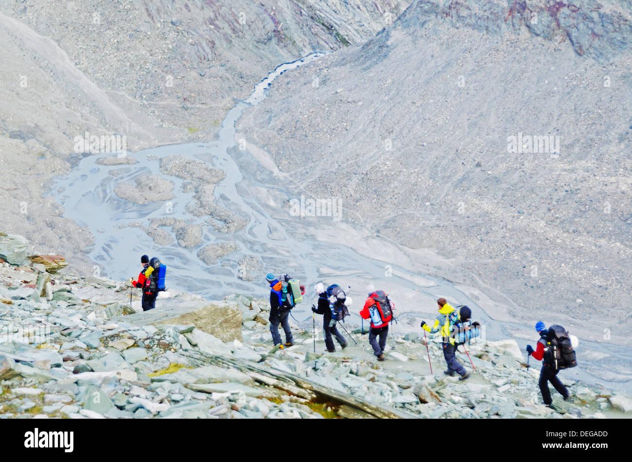 Hikers on the Matterhorn, Zermatt, Valais, Swiss Alps, Switzerland, Europe - Stock Image