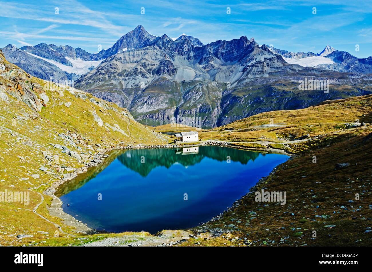 Lake at Schwarzsee paradise, Zermatt, Valais, Swiss Alps, Switzerland, Europe - Stock Image
