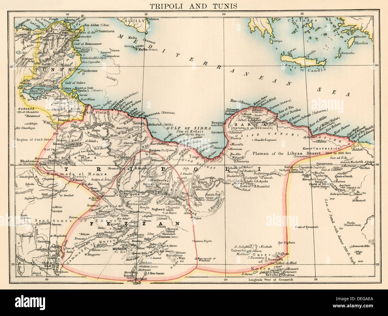 Map of libya stock photos map of libya stock images alamy map of tripoli libya and tunis 1870s color lithograph stock image publicscrutiny Images