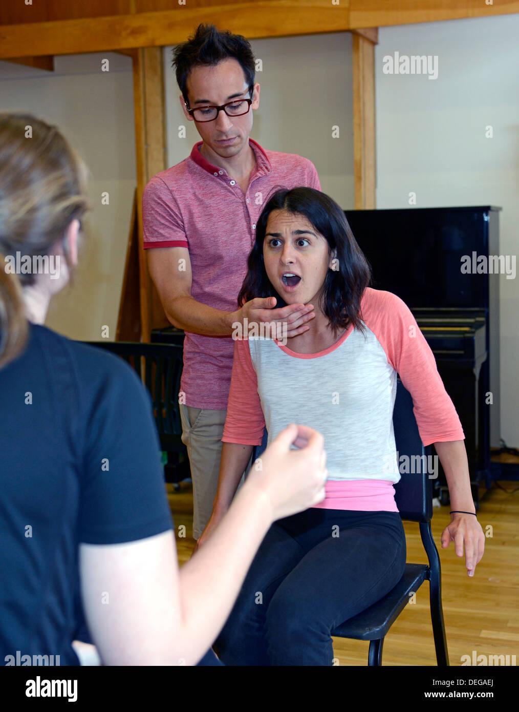 Jon Blake Hackler teaches a drama class at the Yale Summer School. - Stock Image