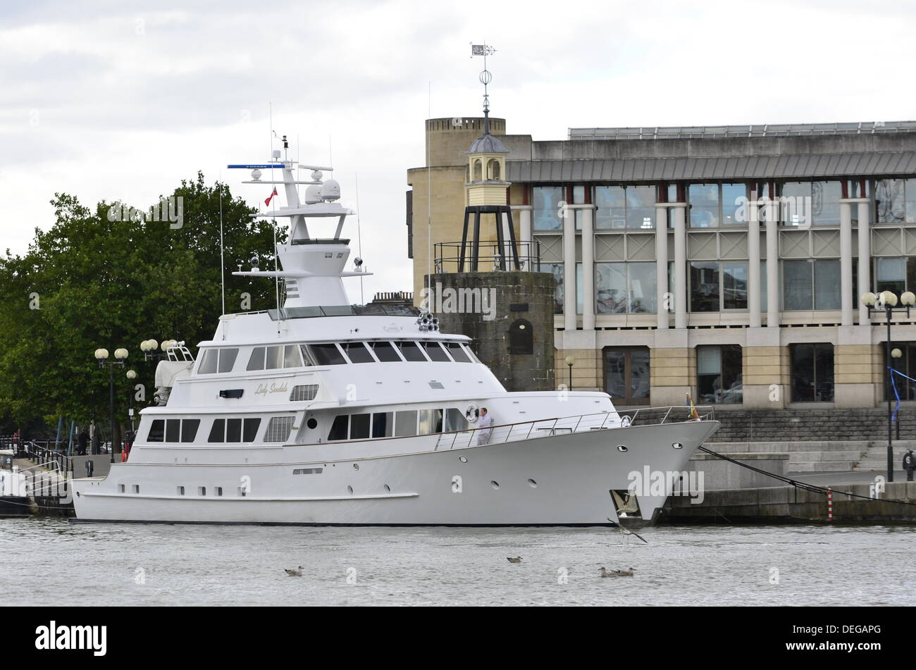 Super Yacht ,Lady Sandals seen docked in Bristol Harbourside UK. Once owned by Hollywood Super Star Nicolas Cage,Long beach California, United States of America. - Stock Image