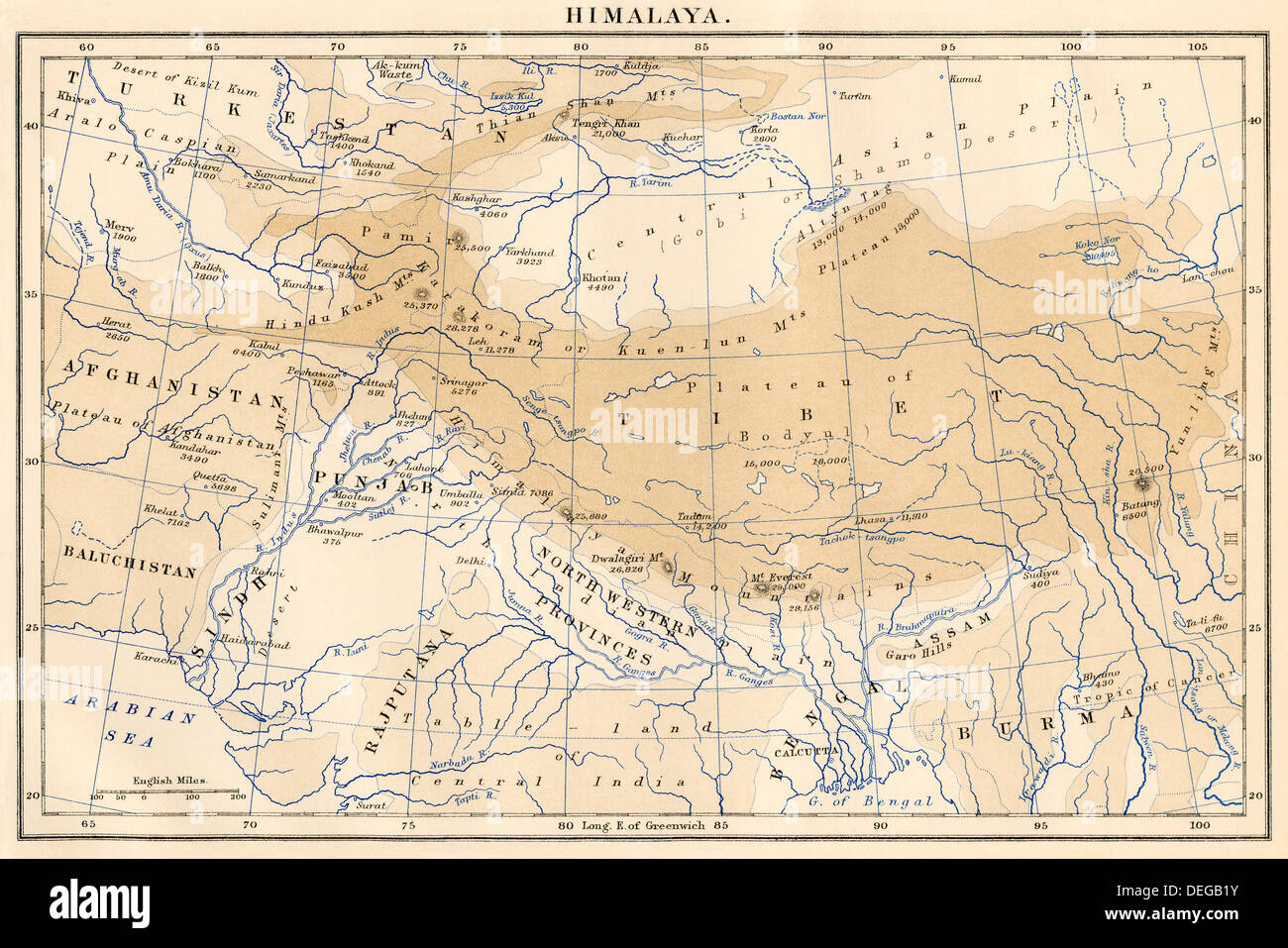 Map of Himalaya region of Asia, 1870s. Color lithograph - Stock Image