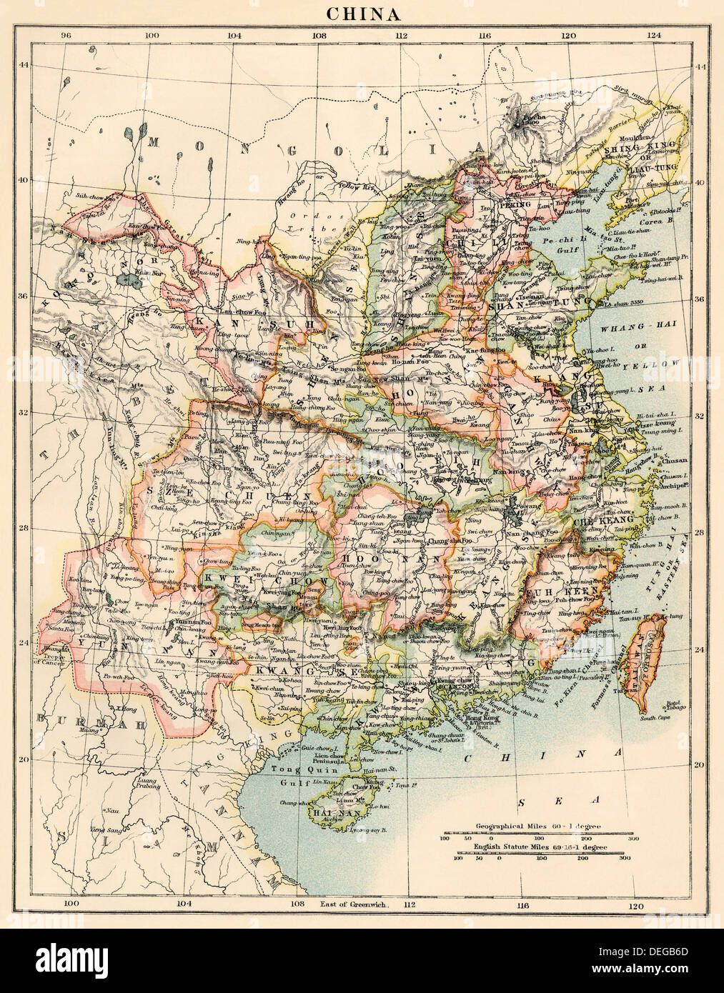 Map of China, 1870s. Color lithograph - Stock Image