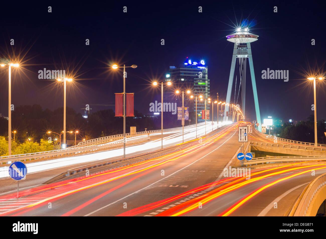 Novy Most Bridge and UFO viewing platform, Bratislava, Slovakia, Europe - Stock Image