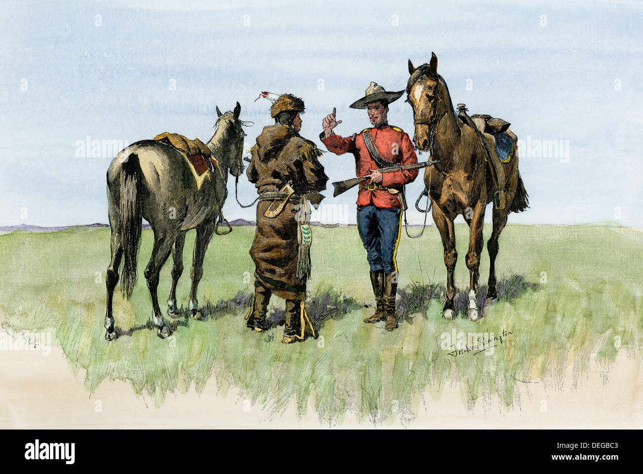 Canadian Mountie warning a traveling aboriginal on the northern plains, late 1800s. Hand-colored woodcut of a Frederic Remington illustration - Stock Image
