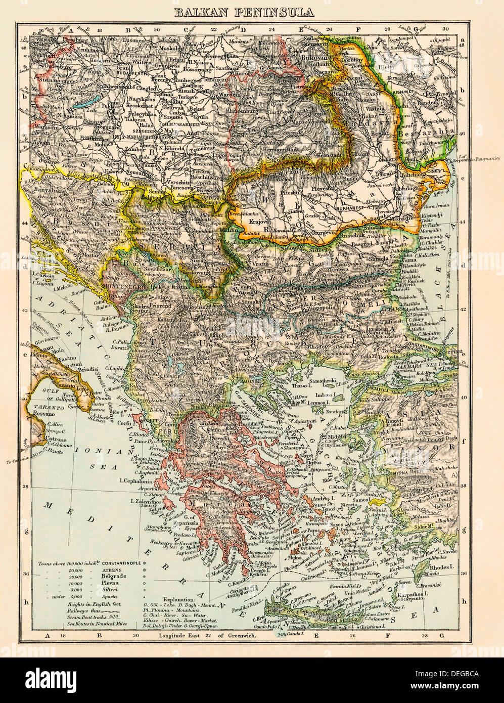 Map of the Balkan peninsula, 1870s. Color lithograph Stock Photo ...