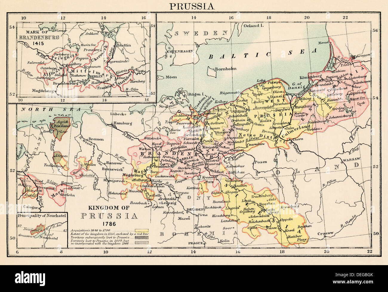 Map of the Kingdom of Prussia in 1786 and Brandenburg in 1415 Stock
