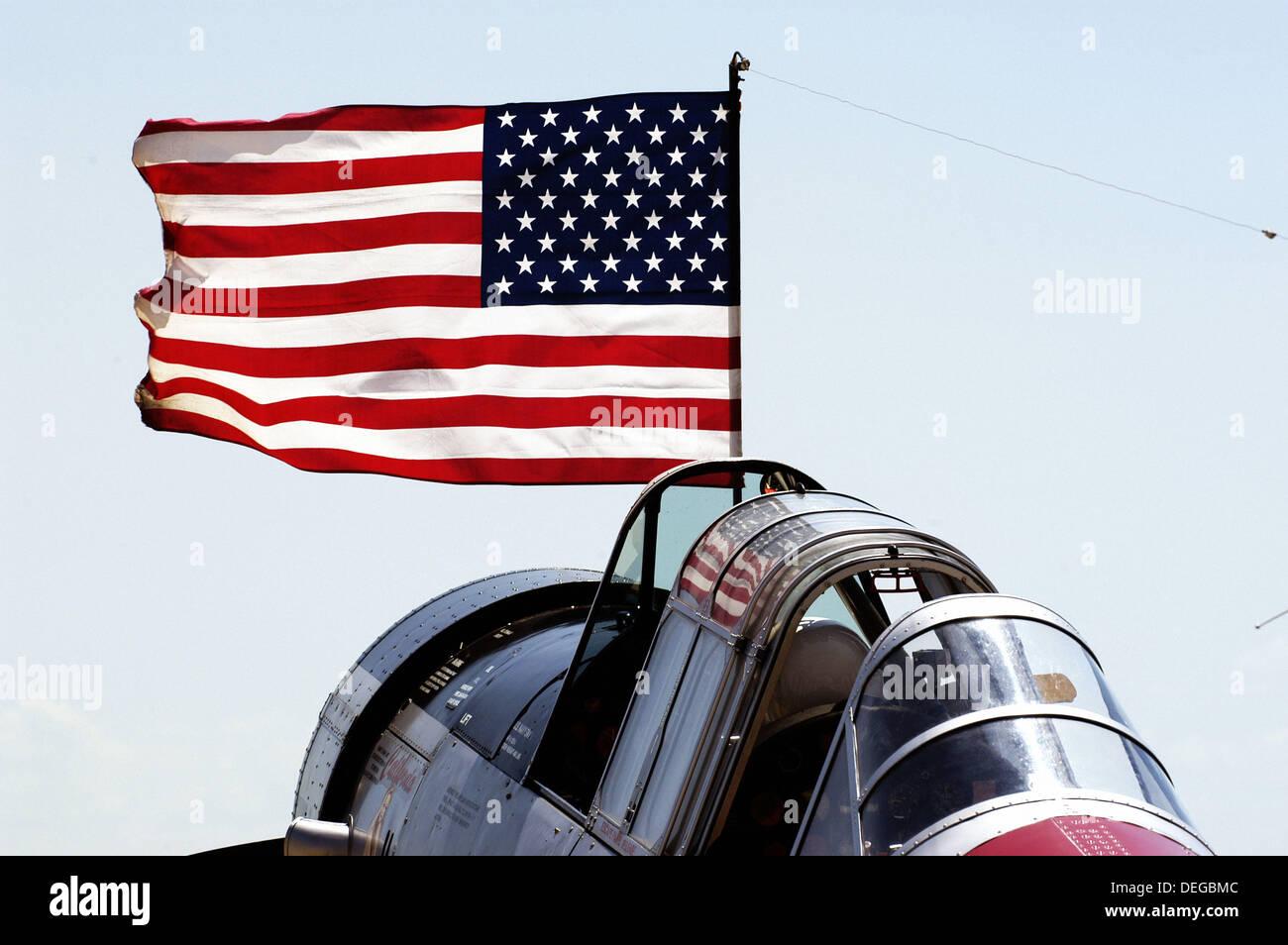 World War II aircraft on display. Selfridge Air Force Base, Mt. Clemens. Michigan. USA - Stock Image