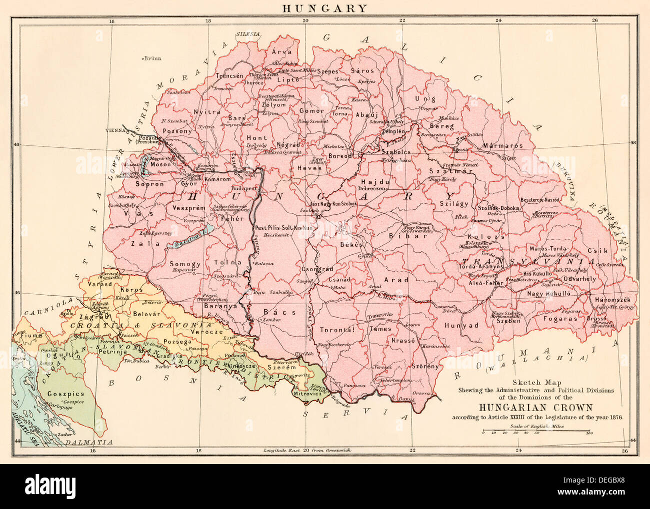 Map hungary stock photos map hungary stock images alamy map of hungary 1870s stock image gumiabroncs Images