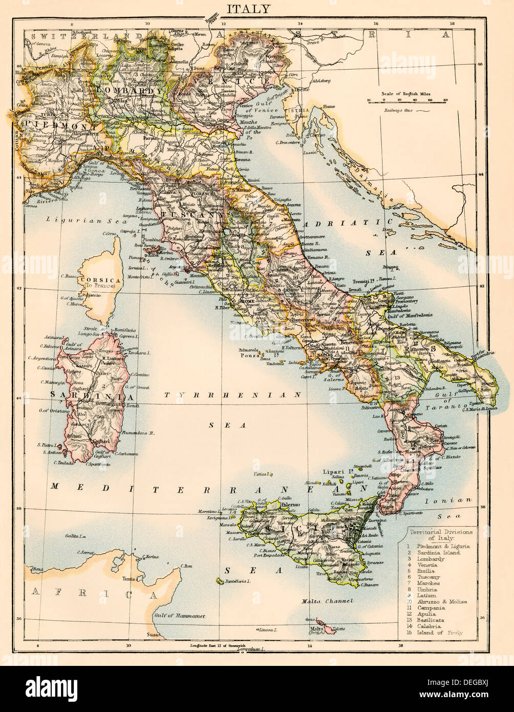 Map of Italy, 1870s. Color lithograph - Stock Image