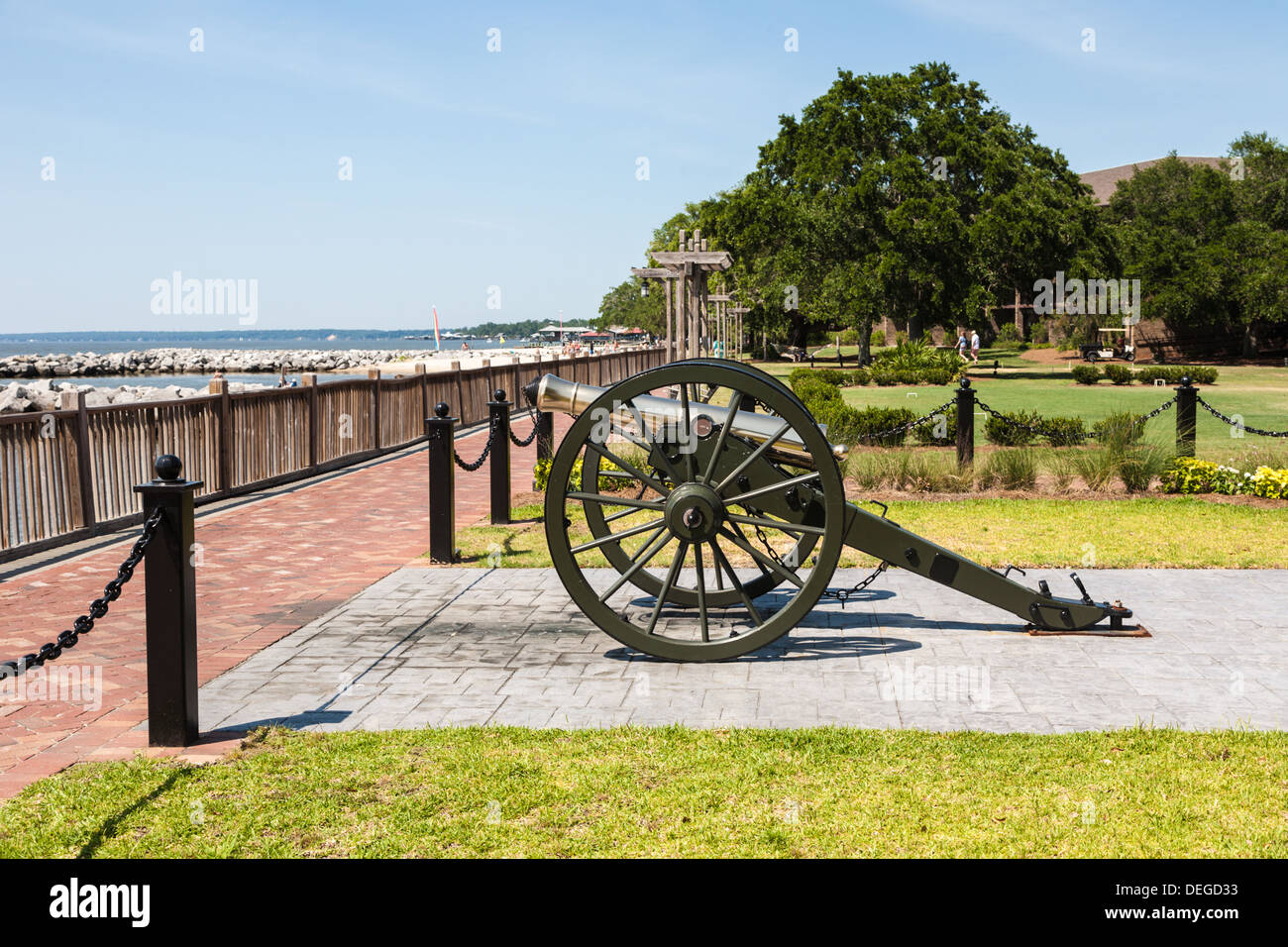 Bronze Canon At The Marriott Grand Hotel On Mobile Bay In Point Stock Photo Alamy