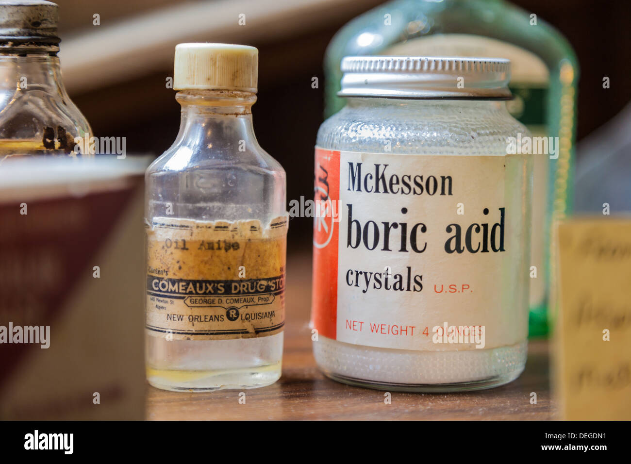 McKesson boric acid crystals and antique jars on display at gift shop in Point Clear, Alabama - Stock Image
